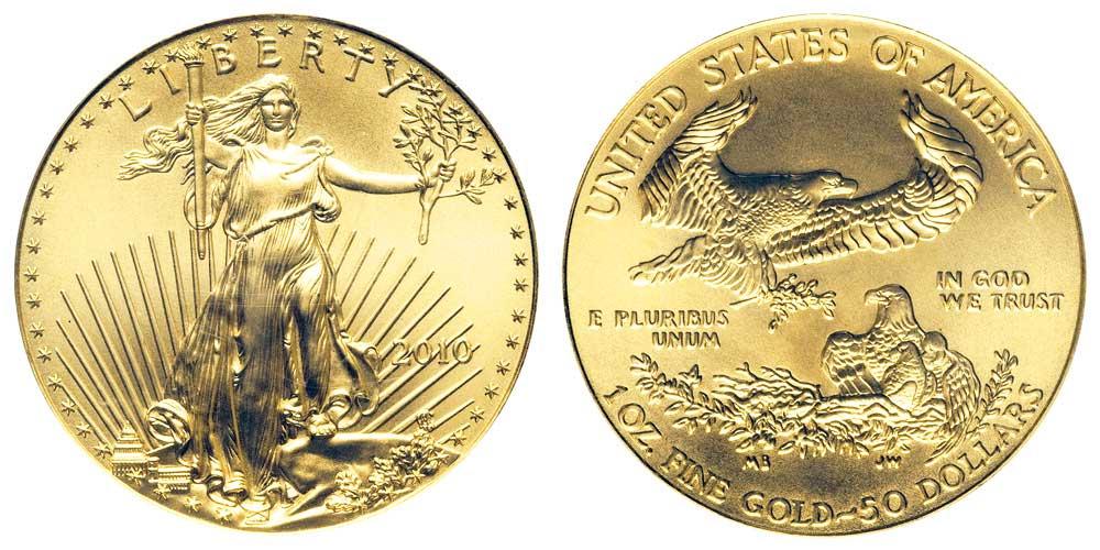 """Avers y revers de la pìèce en or """"american eagle"""" d'une once d'or millesime 2010. La pièce d'or Aigle Américain 2010 est en or 22 carats soit 91,67% d'or."""