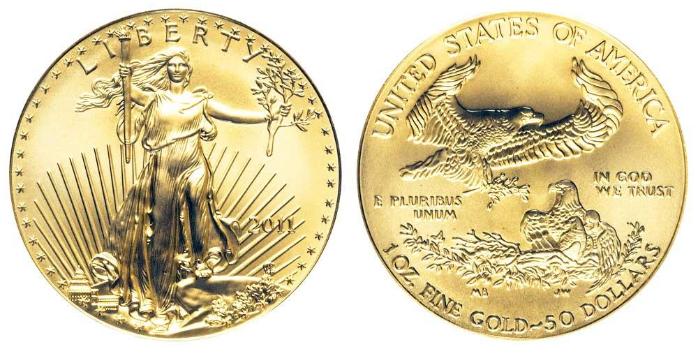 """Avers y revers de la pìèce en or """"american eagle"""" d'une once d'or millesime 2011. La pièce d'or Aigle Américain 2011 est en or 22 carats soit 91,67% d'or."""