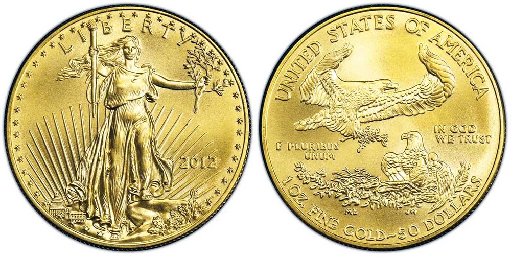 """Avers y revers de la pìèce en or """"american eagle"""" d'une once d'or millesime 2012. La pièce d'or Aigle Américain 2012 est en or 22 carats soit 91,67% d'or."""