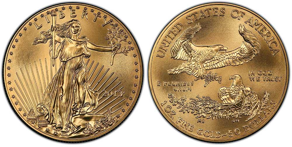 """Avers y revers de la pìèce en or """"american eagle"""" d'une once d'or millesime 2013. La pièce d'or Aigle Américain 2013 est en or 22 carats soit 91,67% d'or."""