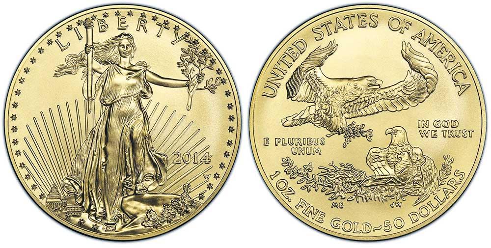 """Avers y revers de la pìèce en or """"american eagle"""" d'une once d'or millesime 2014. La pièce d'or Aigle Américain 2014 est en or 22 carats soit 91,67% d'or."""