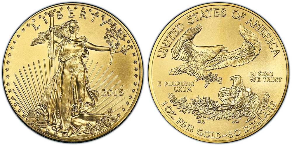 """Avers y revers de la pìèce en or """"american eagle"""" d'une once d'or millesime 2015. La pièce d'or Aigle Américain 2015 est en or 22 carats soit 91,67% d'or."""