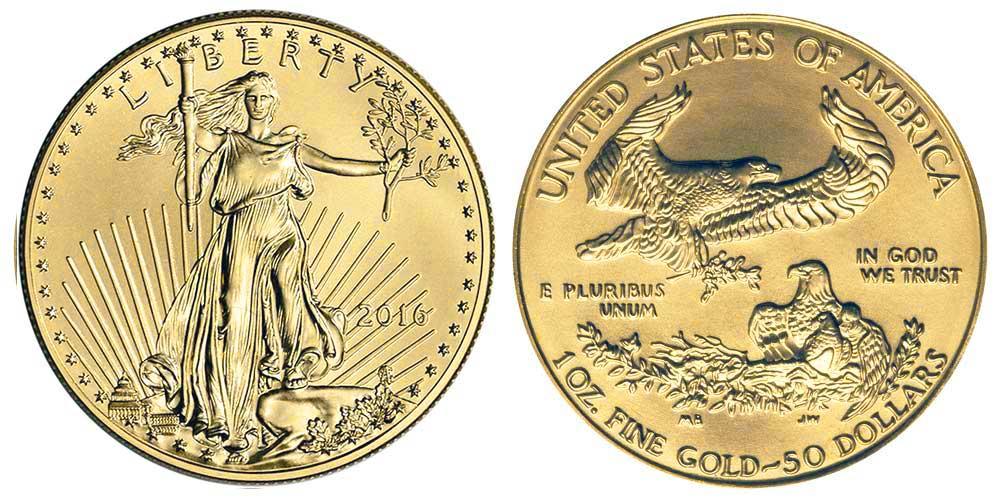 """Avers y revers de la pìèce en or """"american eagle"""" d'une once d'or millesime 2016. La pièce d'or Aigle Américain 2016 est en or 22 carats soit 91,67% d'or."""