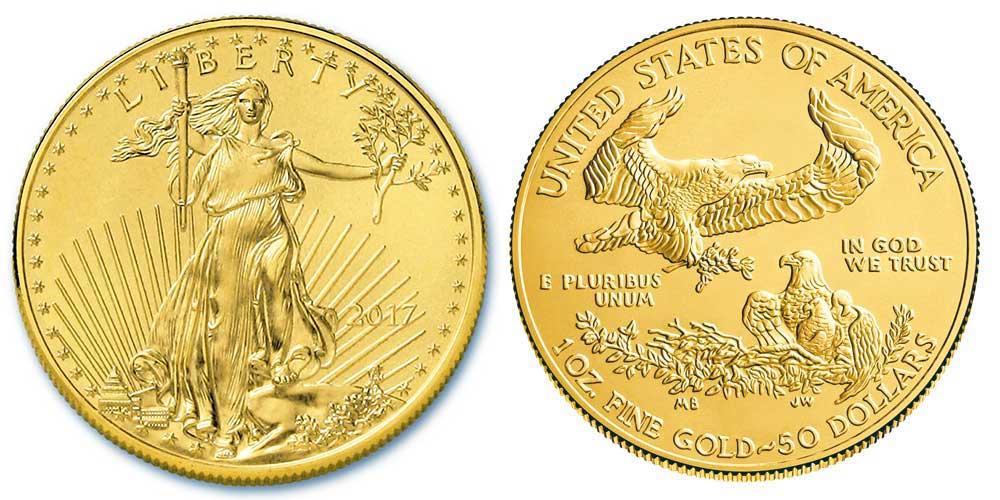 """Avers y revers de la pìèce en or """"american eagle"""" d'une once d'or millesime 2017. La pièce d'or Aigle Américain 2017 est en or 22 carats soit 91,67% d'or."""