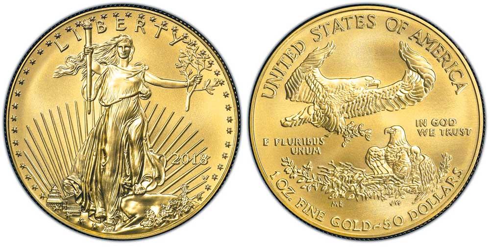 """Avers y revers de la pìèce en or """"american eagle"""" d'une once d'or millesime 2018. La pièce d'or Aigle Américain 2018 est en or 22 carats soit 91,67% d'or."""