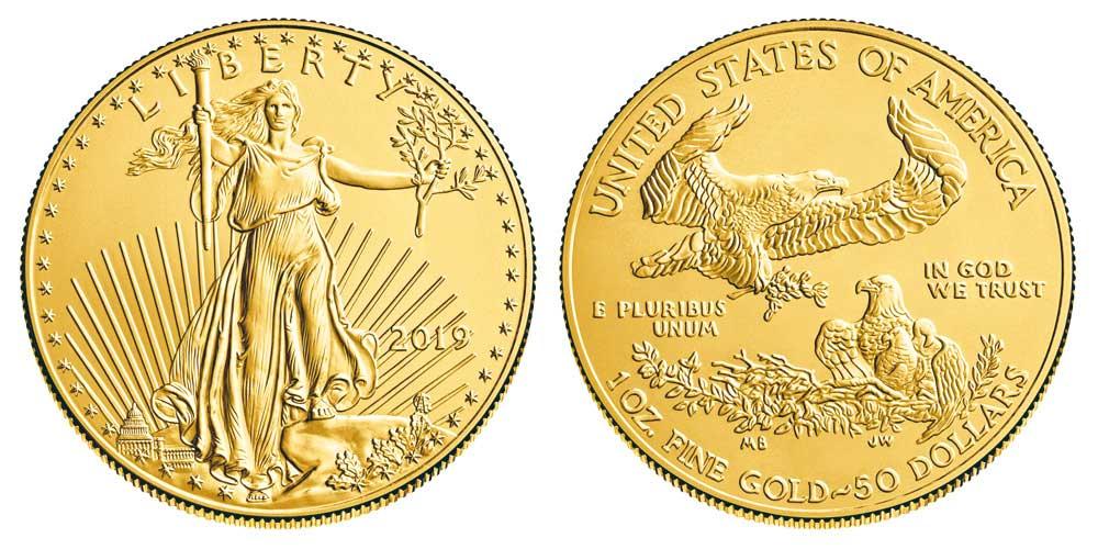"""Avers y revers de la pìèce en or """"american eagle"""" d'une once d'or millesime 2019. La pièce d'or Aigle Américain 2019 est en or 22 carats soit 91,67% d'or."""