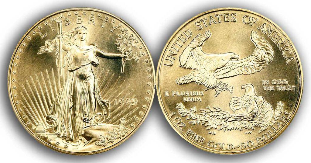 """Avers y revers de la pièce en or """"american eagle"""" d'une once d'or millesime 1995. La pièce d'or Aigle Américain 1995 est en or 22 carats soit 91,67% d'or."""