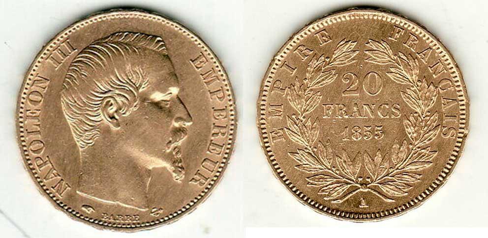 Avers y Revers de la 20 Francs en Or Napolèon III 1855 A. Le napoleon or 1855 est une Pièce d'Or francaise de 5,80 gramme d'or fin d'un diamètre de 21,0 mm.