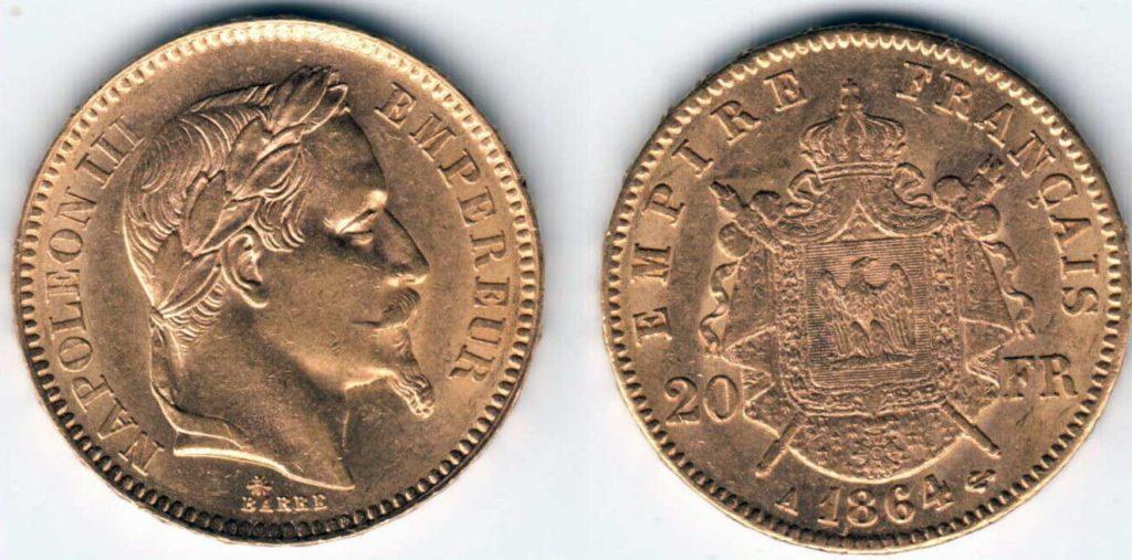 Avers y Revers de la 20 Francs en Or Napolèon III 1864 A. Le napoleon or 1864 est une Pièce d'Or francaise de 5,80 gramme d'or fin d'un diamètre de 21,0 mm.