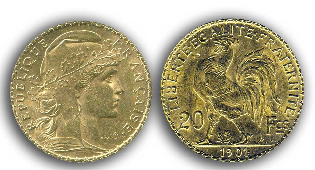 Avers y Revers de la 20 Francs en Or Coq Marianne 1901. Le napoleon or 1901 est une Pièce d'Or francaise de 5,80 gramme d'or fin d'un diamètre de 21,0 mm.