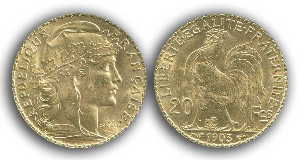 Avers y Revers de la 20 Francs en Or Coq Marianne 1903. Le napoleon or 1903 est une Pièce d'Or francaise de 5,80 gramme d'or fin d'un diamètre de 21,0 mm.