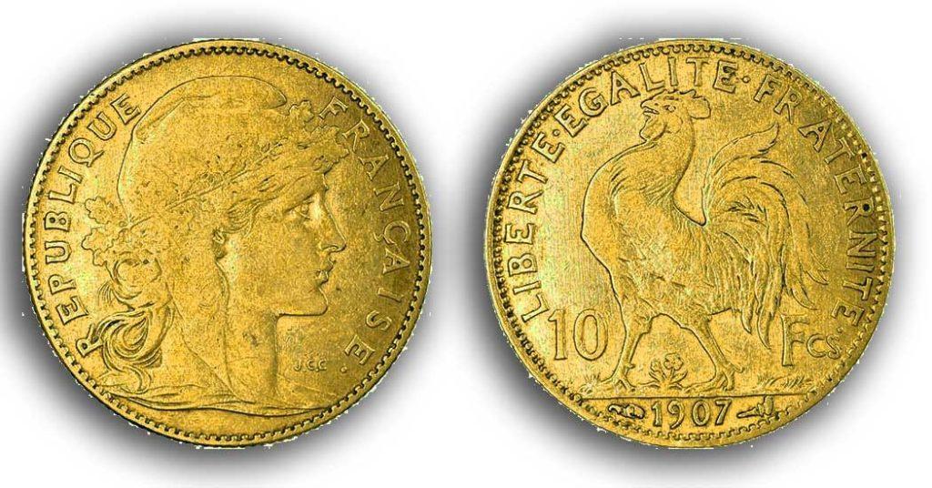 Cara y cruz de la moneda de oro francesa de 20 Francos Marianne 1907.
