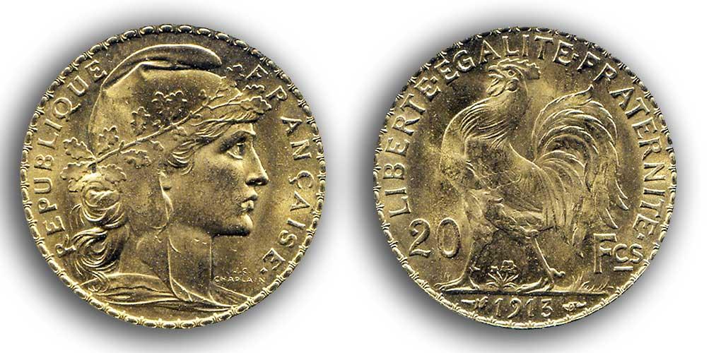 Cara y cruz de la moneda de oro francesa de 20 Francos Marianne 1913.