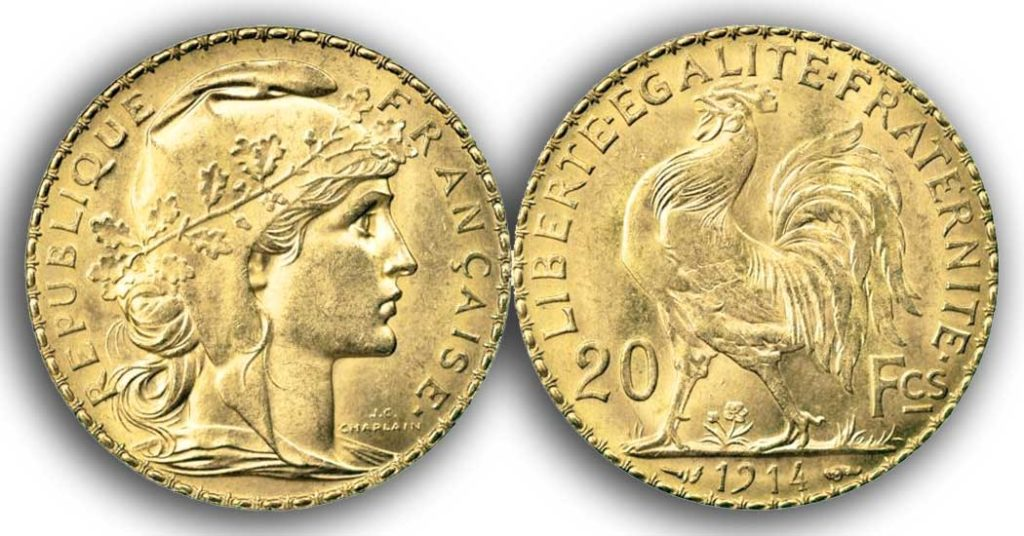 Avers y Revers de la 20 Francs en Or Coq Marianne 1914. Le napoleon or 1914 est une Pièce d'Or francaise de 5,80 gramme d'or fin d'un diamètre de 21,0 mm.