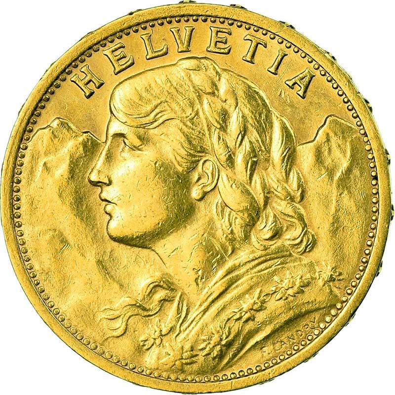 Avers de la 20 francs suisse vreneli 1900 en Or