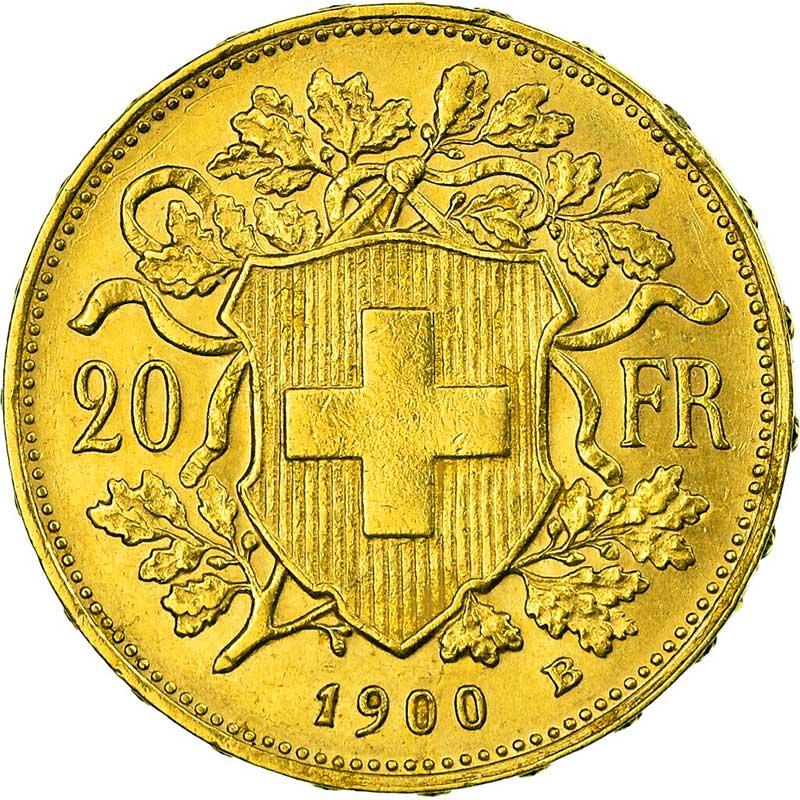 revers de la 20 francs suisse vreneli 1900 en Or