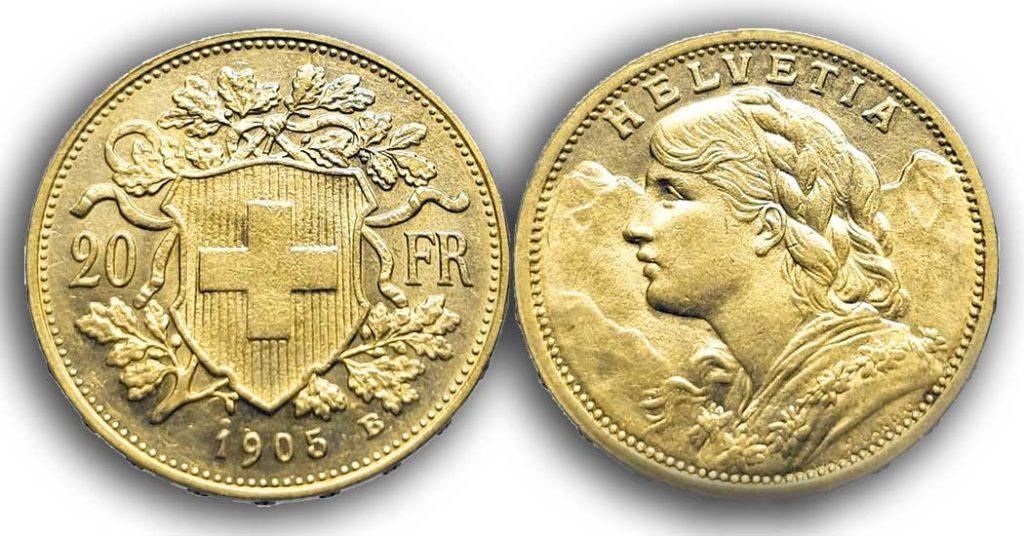 Avers et revers de la 20 francs suisse vreneli 1905 en Or est une Pièce d'Or d'investissement de 5,80 gramme.