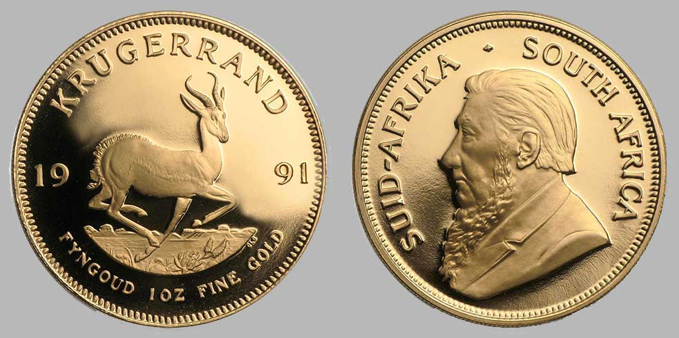 Avers et revers de la krugerrand or une once 1991.