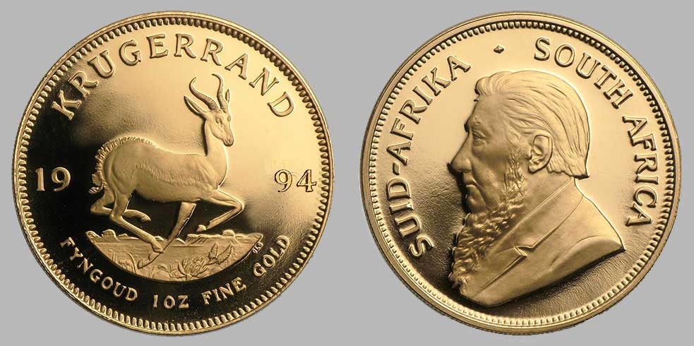 Avers et revers de la krugerrand or une once 1994.