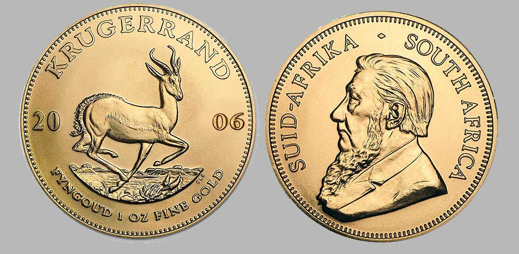 Avers et revers de la krugerrand or une once 2006.