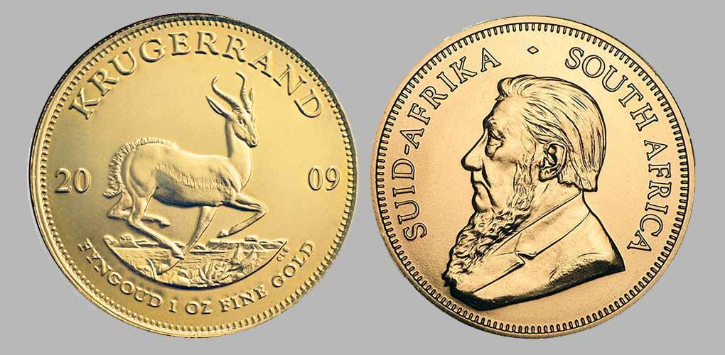 Avers et revers de la krugerrand or une once 2009 Sud Afrique.