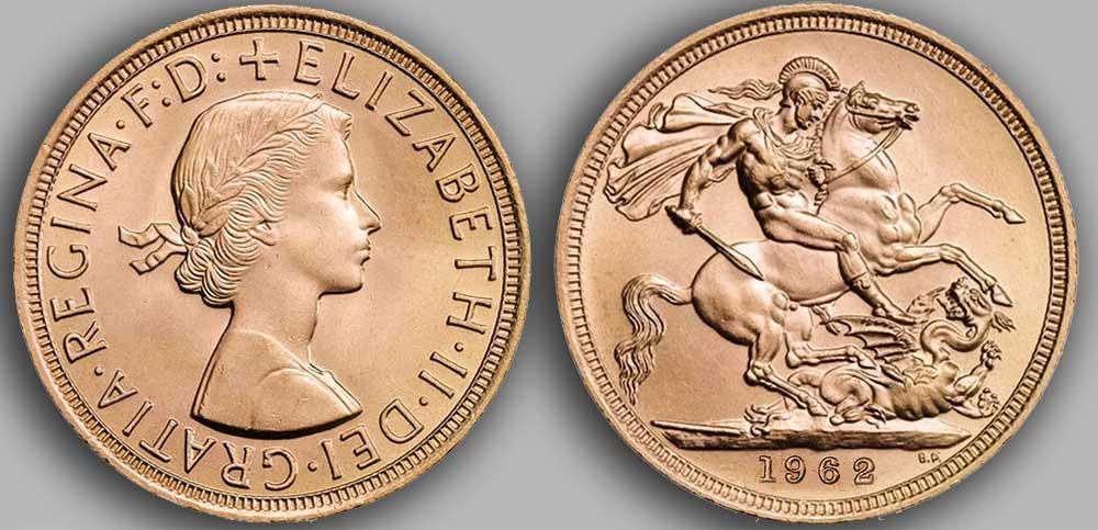 Pièce d'or anglaise souverain Or de 1962.