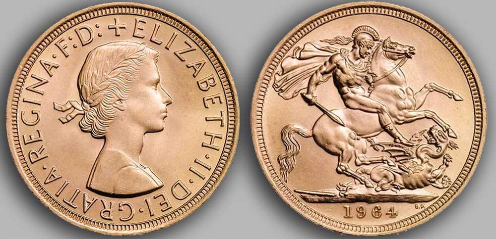 Pièce d'or anglaise souverain Or de 1964.