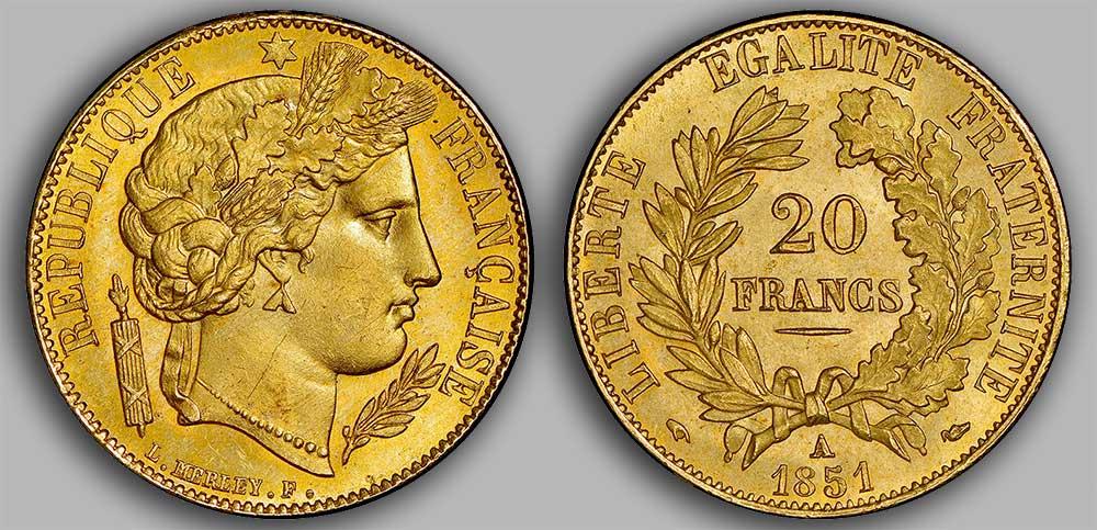 Le napoléon or 1851 est une monnaie française en or de 5,80 gramme d'or fin d'un diamètre de 21,0 mm.