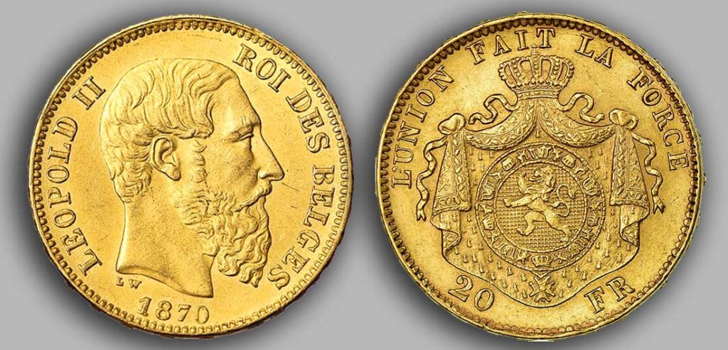 Avers y Revers de la 20 Francs belge Napoléon Or 1870.