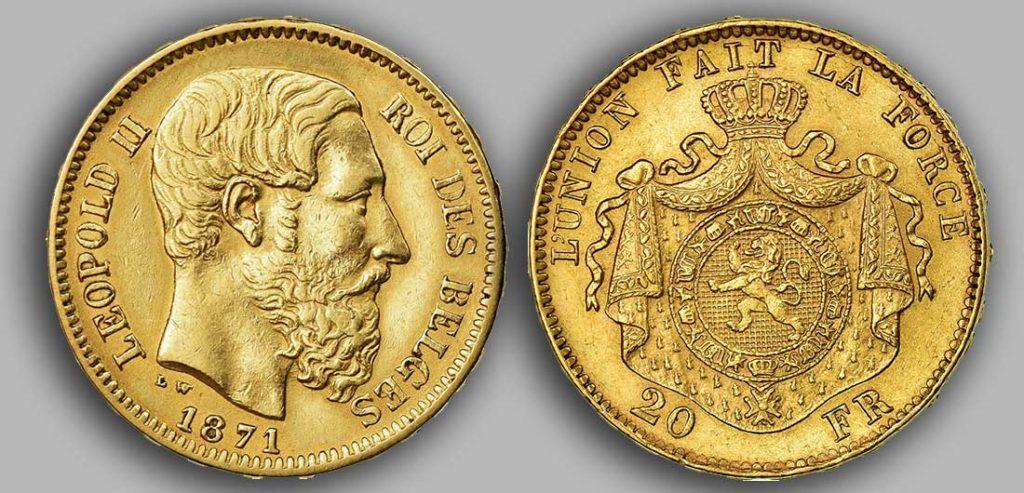 Avers y Revers de la 20 Francs belge Napoléon Or 1871. Le Louis Belge de 20 Francs or 1871 est une Pièce d'Or belge de 5,80 gramme d'or fin d'un diamètre de 21,40 mm.  2 258 972 exemplaires furent frappés à Bruxelles.