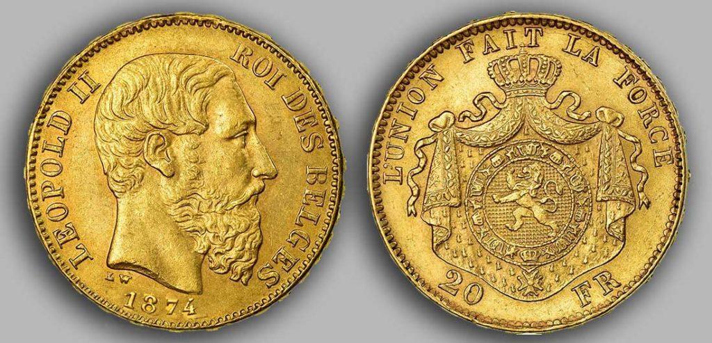 Avers y Revers de la 20 Francs belge Napoléon Or 1874. Le Louis Belge de 20 Francs or 1875 est une Pièce d'Or belge de 5,80 gramme d'or fin d'un diamètre de 21,40 mm. 3 046 350 exemplaires furent frappés à Bruxelles.