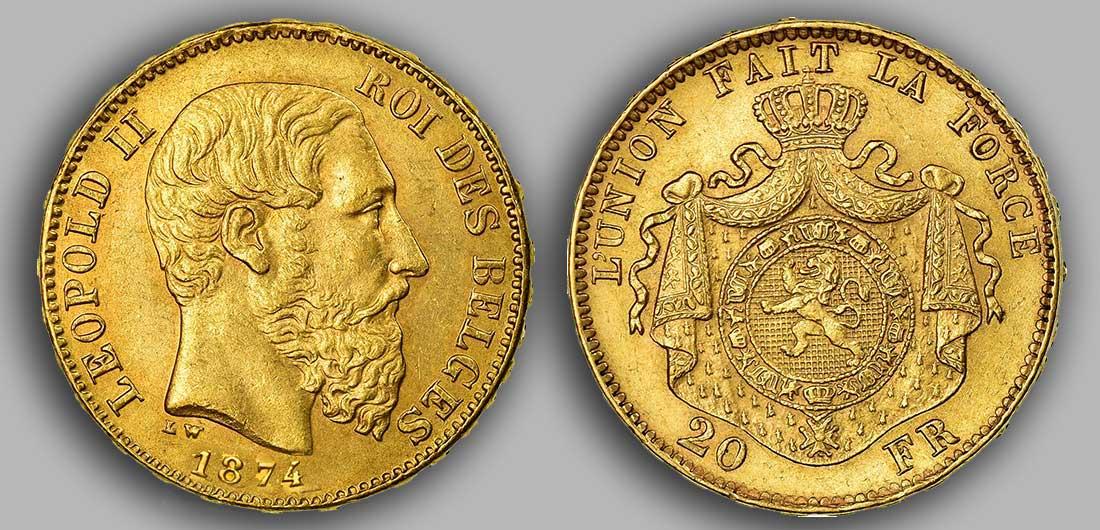 Avers y Revers de la 20 Francs belge Napoléon Or 1874.