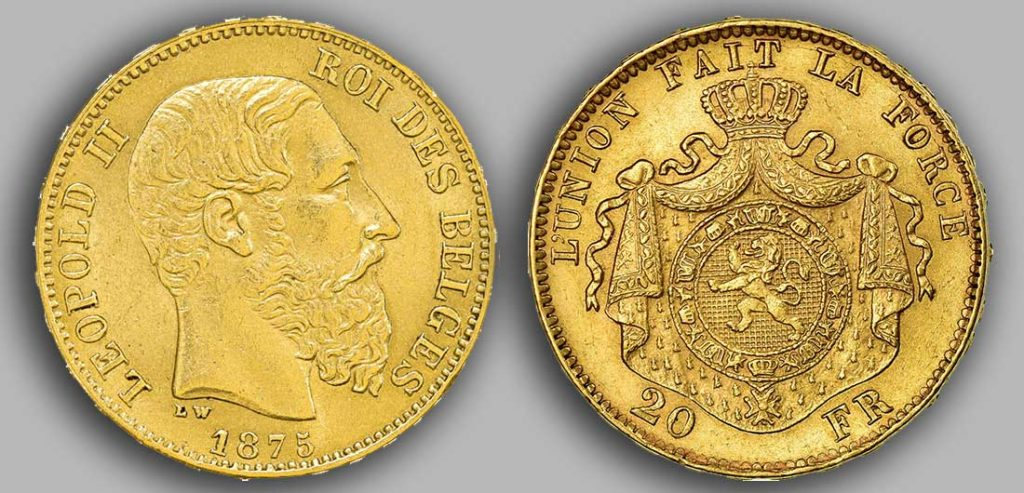 Avers y Revers de la 20 Francs belge Napoléon Or 1875.  Le Louis Belge de 20 Francs or 1875 est une Pièce d'Or belge de 5,80 gramme d'or fin d'un diamètre de 21,40 mm. 4 134 253 exemplaires furent frappés à Bruxelles.