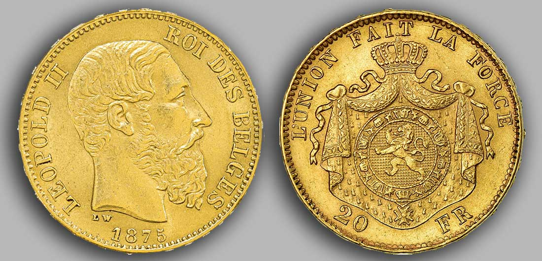 Avers y Revers de la 20 Francs belge Napoléon Or 1875.