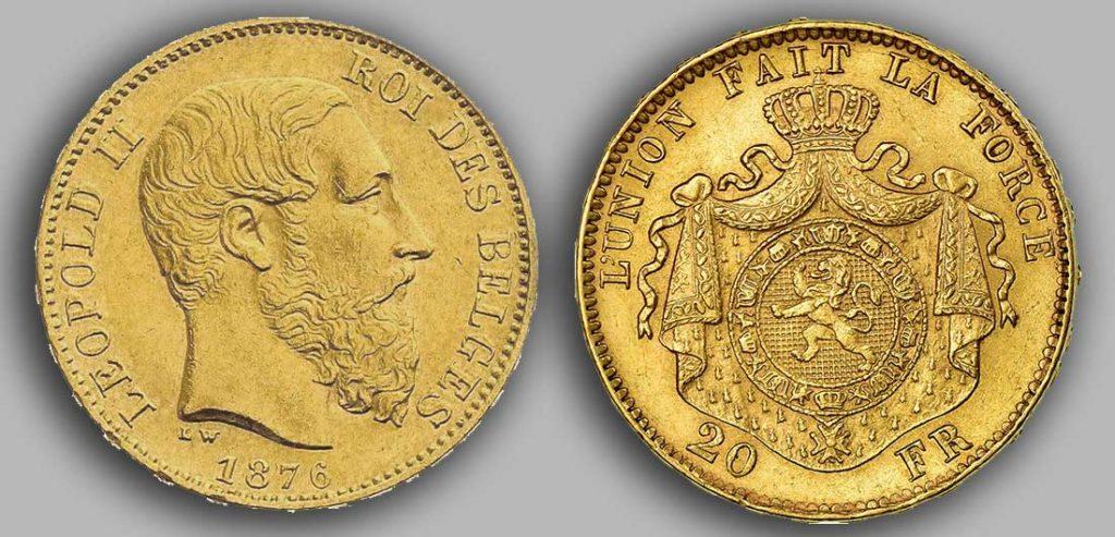 Avers y Revers de la 20 Francs belge Napoléon Or 1876.  Le Louis Belge de 20 Francs or 1876 est une Pièce d'Or belge de 5,80 gramme d'or fin d'un diamètre de 21,40 mm. 2 069 682 exemplaires furent frappés à Bruxelles.