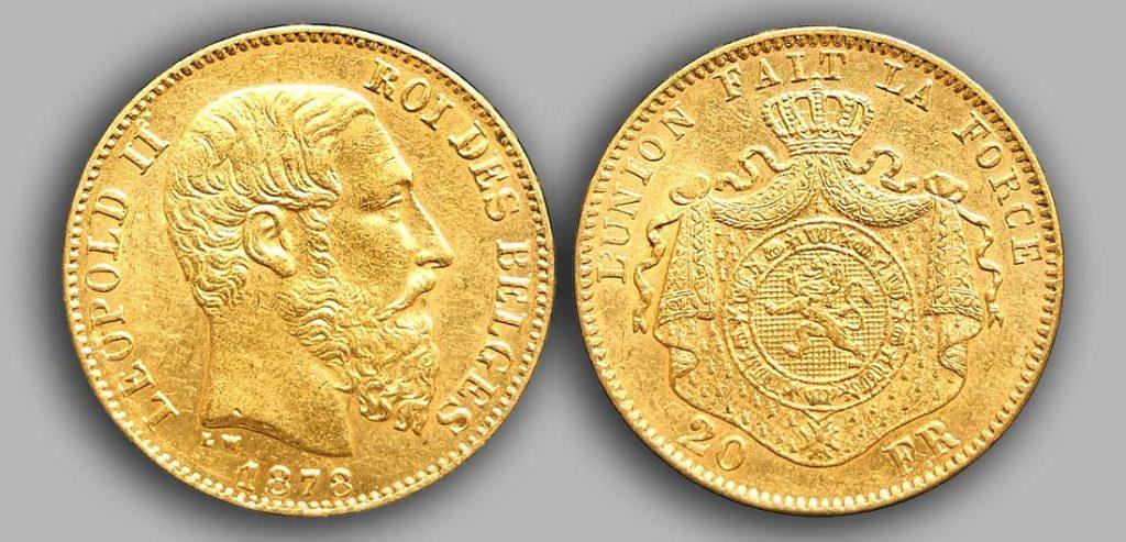Le Louis Belge de 20 Francs or 1878 est une Pièce d'Or belge de 5,80 gramme d'or fin d'un diamètre de 21,40 mm. 2 555 400 exemplaires furent frappés à Bruxelles.