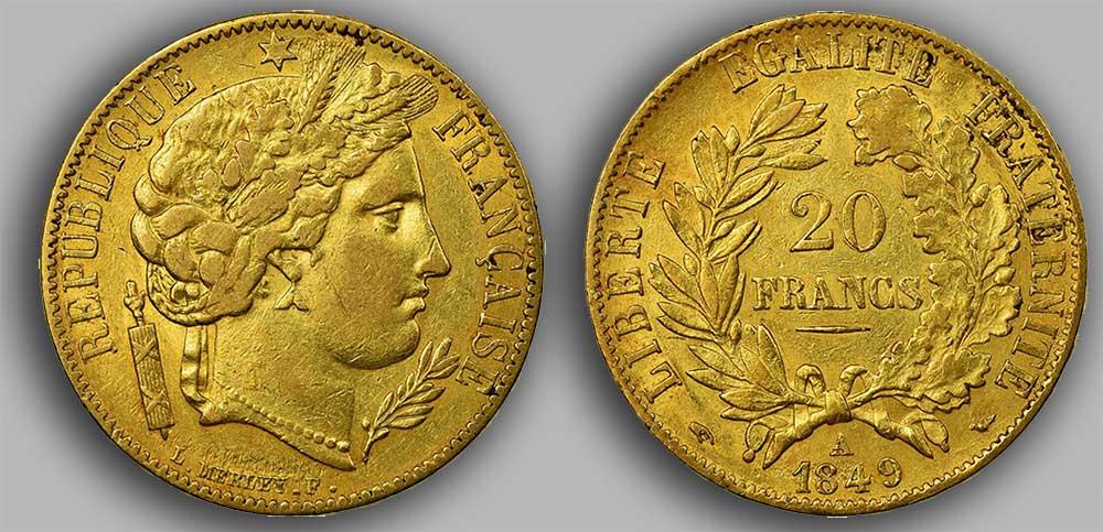 Avers y Revers de la 20 Francs Napoléon Or 1849. Le napoléon or 1849 est une Pièce d'Or française de 5,80 gramme d'or fin d'un diamètre de 21,0 mm.