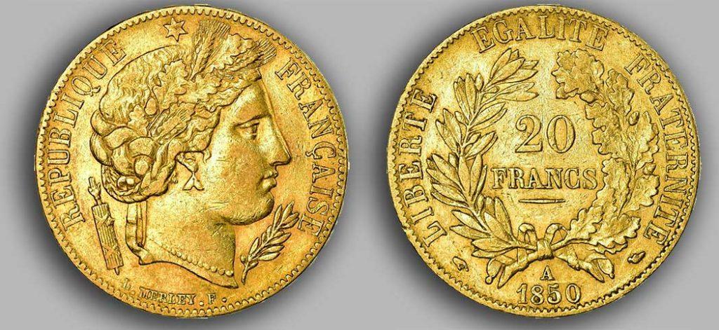 Avers y Revers de la 20 Francs Napoléon Or 1850. Le napoléon or 1850 est une Pièce d'Or française de 5,80 gramme d'or fin d'un diamètre de 21,0 mm.
