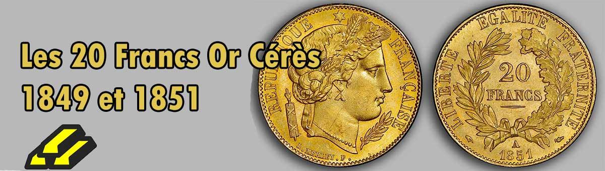 Les pièces d'or Napoléon de 20 Francs Type Cérès.