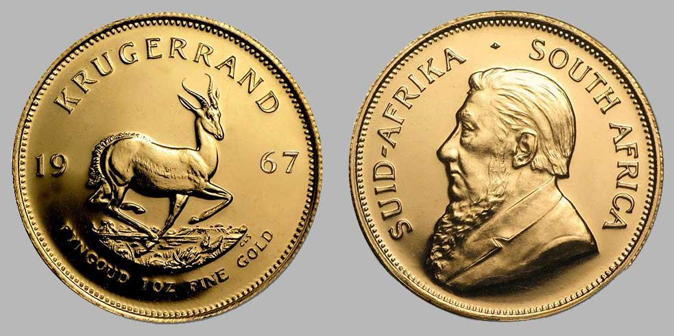 Avers y reverso del oro krugerrand una onza 1967.