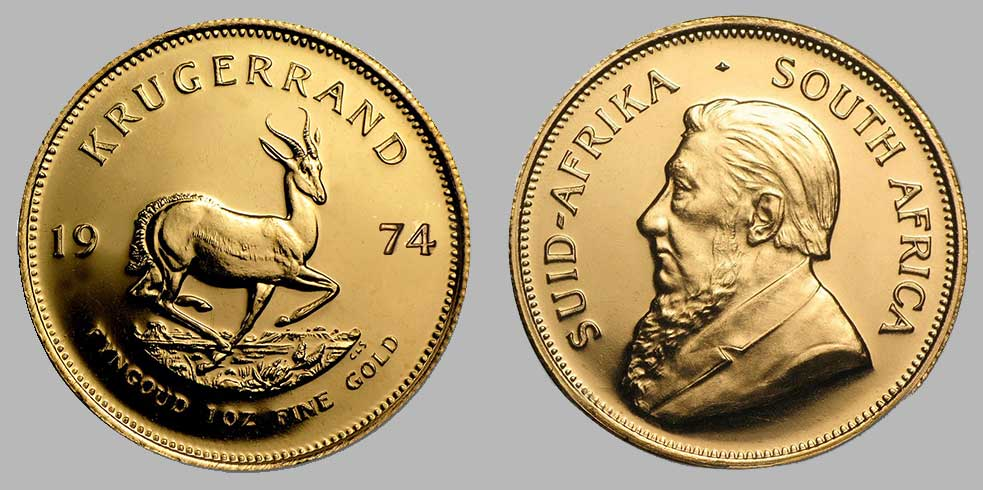 Avers et revers de la krugerrand or une once 1974.
