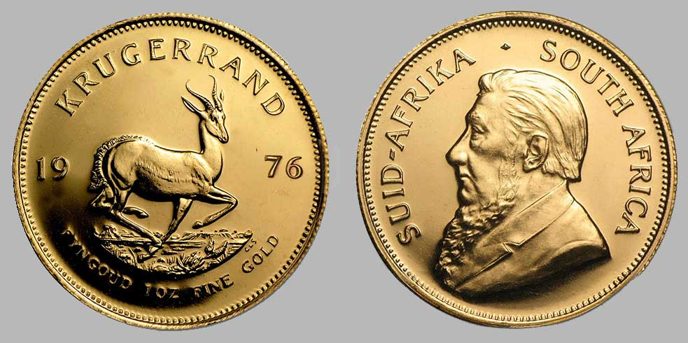 Avers et revers de la krugerrand or une once 1976.
