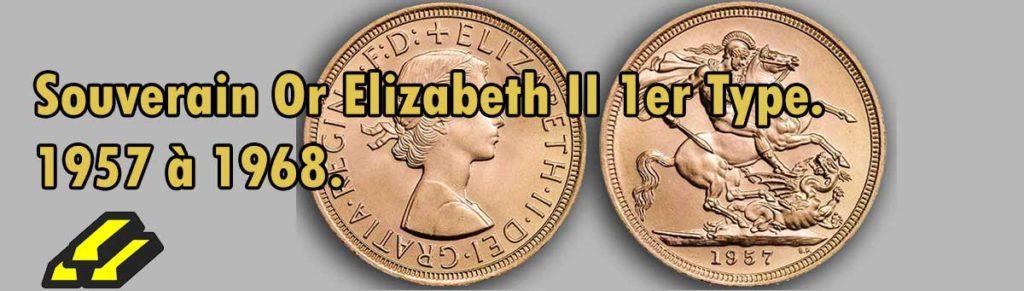 pièce d'or anglaise Souverain Or Elizabeth II 1er Type