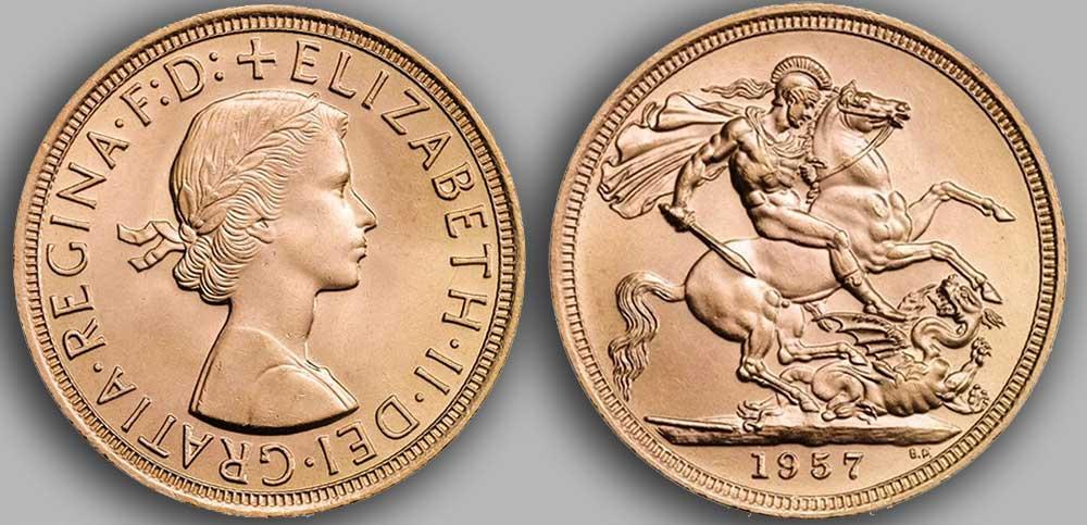 Pièce d'or anglaise souverain Or de 1957.