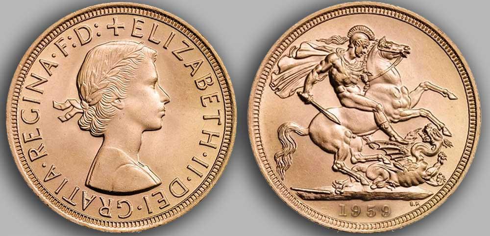 Pièce d'or anglaise souverain Or de 1959.