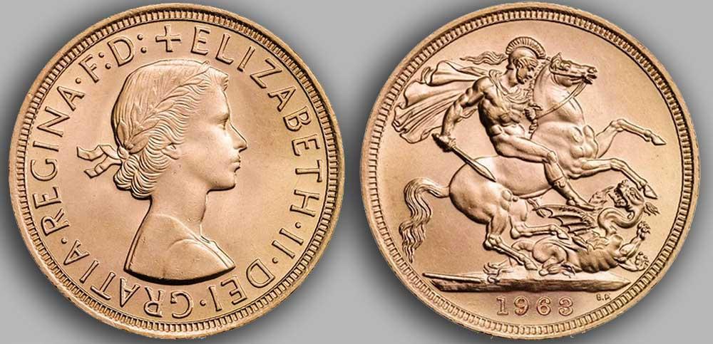 Pièce d'or anglaise souverain Or de 1963.