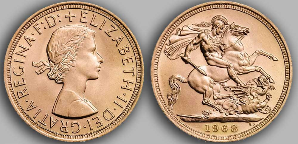 Pièce d'or anglaise souverain Or de 1968.