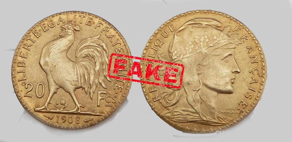 Fausse pièce de 20 Francs Or Coq 1908.