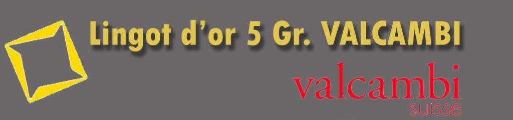 Description et valeur en bourse aujourd'hui des lingots de 5 grammes d'or Valcambi.