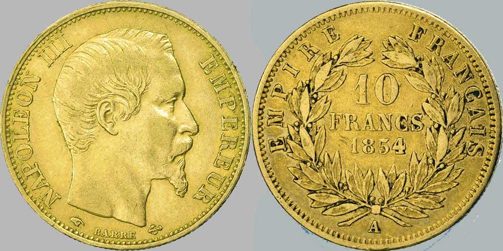 Monnaie en or de 10 Francs, Empire Français, atelier A, année 1854